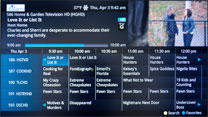 TV screenshot of interactive TV Guide.