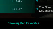 "TV screenshot of Favorites list, ""Showing Dad Favorites""."