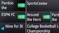 "TV screenshot close of of ""NEW"" next to program listing."