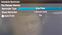 "TV screenshot of ""Schedule Reminder""."