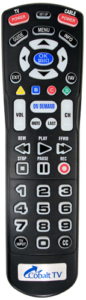 Image of Cobalt TV big button remote control with DVR buttons.