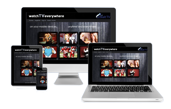 Image of laptop, PC, tablet and smartphone with WatchTVEverywhere welcome screen.